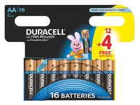 Pack 12 + 4 piles alcalines AA LR06 Duracell Ultra Power
