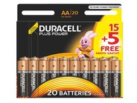 15 piles alcalines AA - LR6 Duracell Plus Power + 5 offertes