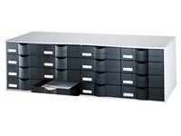 Grey storage cupboard , with 16 black drawers